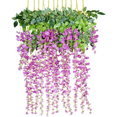Flores artificiales, glicina artificial, decoración de pared, cada hebra mide 110 cm de largo, hecha de seda, para bodas, hogar, jardín, fiesta, 12 piezas, fucsia