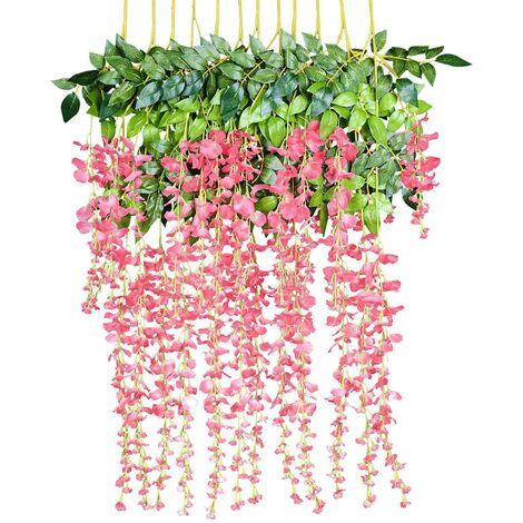 Flores artificiales, glicinas artificiales, decoración de paredes, cada hebra mide 110 cm de largo, hecha de seda, para bodas, hogar, jardín, fiesta, 12 piezas rosa