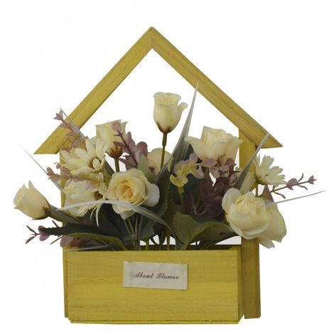 Flores Artificiales para Jardín con Macetero Amarillo de Madera Natural, Flores Amarillas Decorativas Vintage 24x6x16 cm