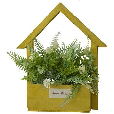 Flores Artificiales para Jardín con Macetero Amarillo de Madera Natural, Flores Blancas Decorativas Vintage 24x6x16 cm