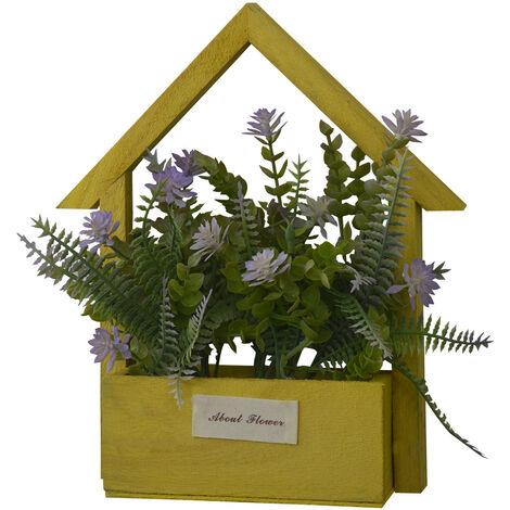 Flores Artificiales para Jardín con Macetero Amarillo de Madera Natural, Flores Moradas Decorativas Vintage 24x6x16 cm