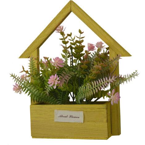 Flores Artificiales para Jardín con Macetero Amarillo de Madera Natural, Flores Rosas Decorativas Vintage 24x6x16 cm