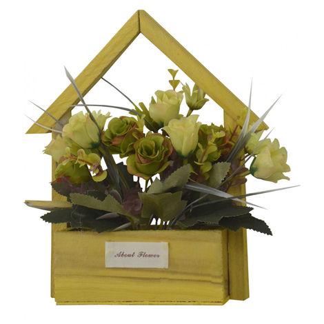 Flores Artificiales para Jardín con Macetero Amarillo de Madera Natural, Flores Verdes Decorativas Vintage 24x6x16 cm