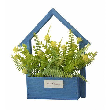 Flores Artificiales para Jardín con Macetero Azul de Madera Natural, Flores Amarillas Decorativas Vintage 24x6x16 cm