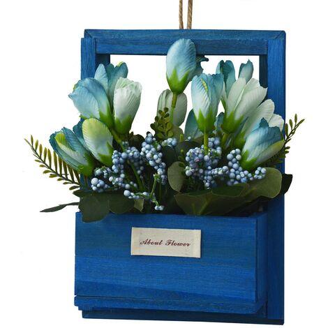 Flores Artificiales para Jardín con Macetero Azul de Madera Natural, Flores Azules Decorativas Vintage 23x7x16 cm