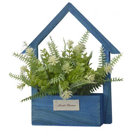 Flores Artificiales para Jardín con Macetero Azul de Madera Natural, Flores Blancas Decorativas Vintage 24x6x16 cm