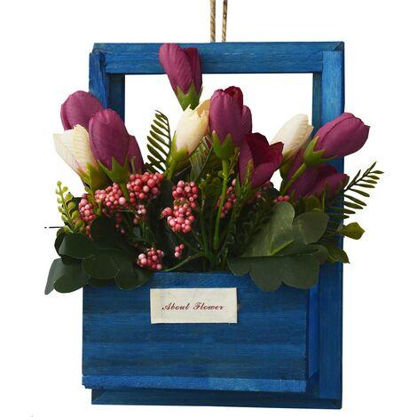 Flores Artificiales para Jardín con Macetero Azul de Madera Natural, Flores color Granate Decorativas Vintage 23x7x16 cm