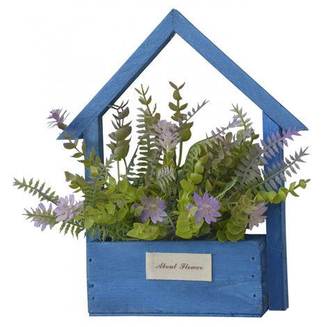 Flores Artificiales para Jardín con Macetero Azul de Madera Natural, Flores Moradas Decorativas Vintage 24x6x16 cm