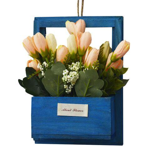 Flores Artificiales para Jardín con Macetero Azul de Madera Natural, Flores Naranjas Decorativas Vintage 23x7x16 cm