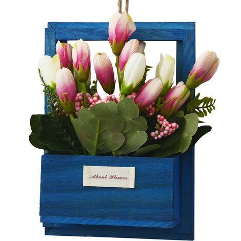 Flores Artificiales para Jardín con Macetero Azul de Madera Natural, Flores Rosas Decorativas Vintage 23x7x16 cm