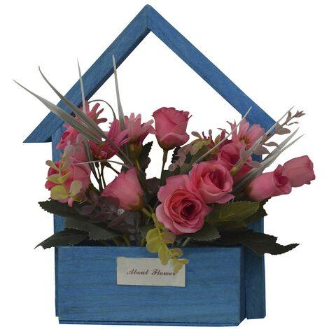 Flores Artificiales para Jardín con Macetero Azul de Madera Natural, Flores Rosas Decorativas Vintage 24x6x16 cm