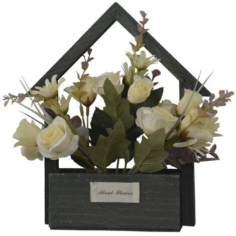 Flores Artificiales para Jardín con Macetero Negro de Madera Natural, Flores Blancas Decorativas Vintage 24x6x16 cm
