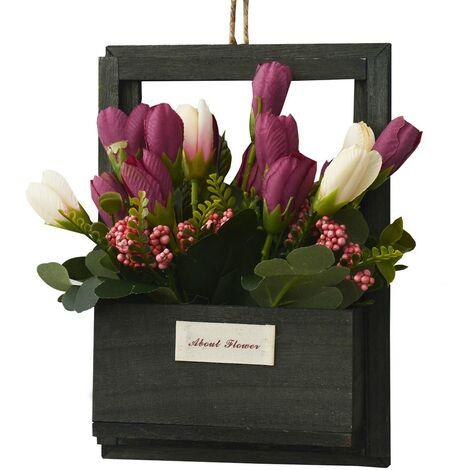 Flores Artificiales para Jardín con Macetero Negro de Madera Natural, Flores Burdeos Decorativas Vintage 23x7x16 cm