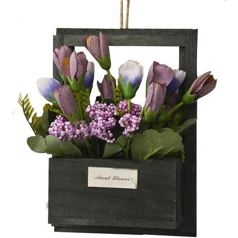 Flores Artificiales para Jardín con Macetero Negro de Madera Natural, Flores Moradas Decorativas Vintage 23x7x16 cm