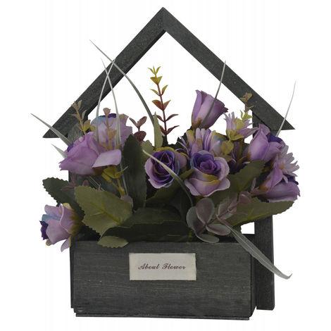 Flores Artificiales para Jardín con Macetero Negro de Madera Natural, Flores Moradas Decorativas Vintage 24x6x16 cm