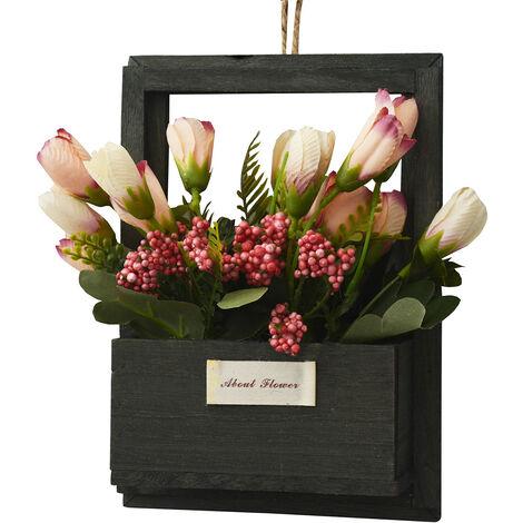 Flores Artificiales para Jardín con Macetero Negro de Madera Natural, Flores Naranjas Decorativas Vintage 23x7x16 cm