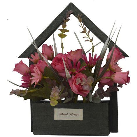 Flores Artificiales para Jardín con Macetero Negro de Madera Natural, Flores Rosas Decorativas Vintage 24x6x16 cm