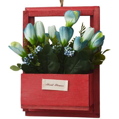Flores Artificiales para Jardín con Macetero Rojo de Madera Natural, Flores Azules Decorativas Vintage 23x7x16 cm
