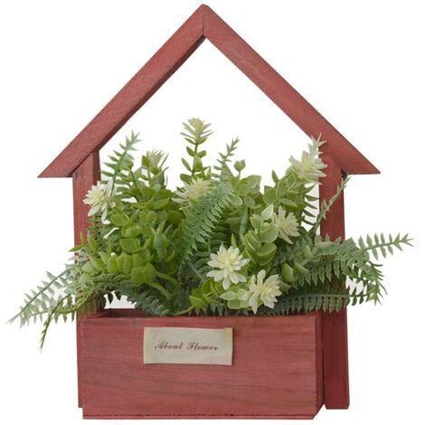 Flores Artificiales para Jardín con Macetero Rojo de Madera Natural, Flores Blancas Decorativas Vintage 24x6x16 cm