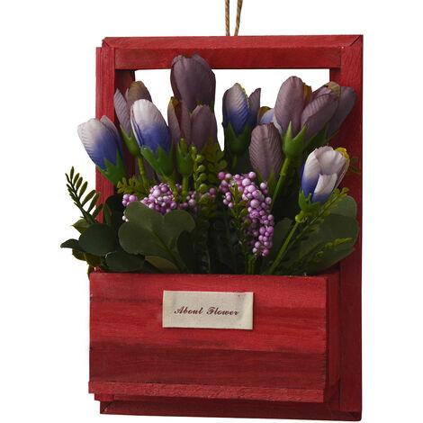 Flores Artificiales para Jardín con Macetero Rojo de Madera Natural, Flores Moradas Decorativas Vintage 23x7x16 cm