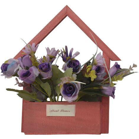 Flores Artificiales para Jardín con Macetero Rojo de Madera Natural, Flores Moradas Decorativas Vintage 24x6x16 cm
