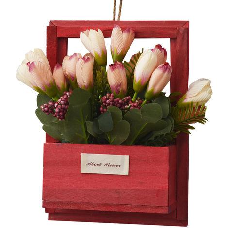 Flores Artificiales para Jardín con Macetero Rojo de Madera Natural, Flores Rosas Decorativas Vintage 23x7x16 cm