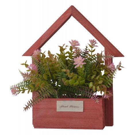 Flores Artificiales para Jardín con Macetero Rojo de Madera Natural, Flores Rosas Decorativas Vintage 24x6x16 cm