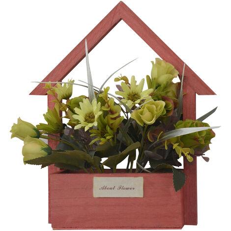 Flores Artificiales para Jardín con Macetero Rojo de Madera Natural, Flores Verdes Decorativas Vintage 24x6x16 cm