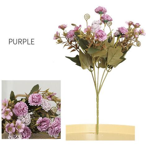 Flores artificiales Ramos de cinco puntas 11 claveles festivos, purpura