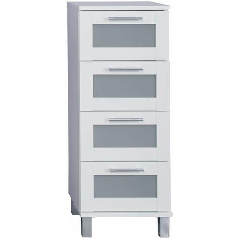 FLORIDA-ORLANDO - Meuble salle de bain mélaminé. Meuble commode tiroirs. L - H - P : 35 - 89 - 33 cm - Blanc