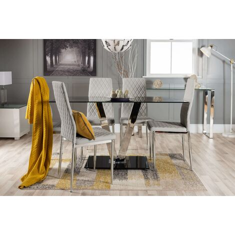 Florini Black Glass And Chrome Metal Dining Table And 6 Milan Dining Chairs Set