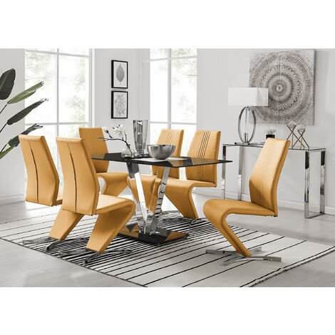 Florini Black Glass And Chrome Metal Dining Table And 6 Modern Willow Chairs Set