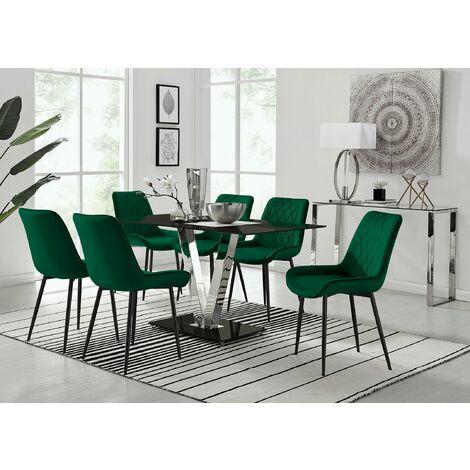 "main image of ""Florini V Black Dining Table and 6 Pesaro Black Leg Chairs"""