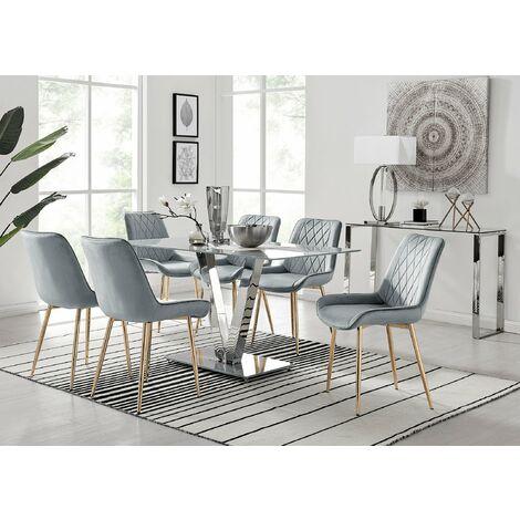 "main image of ""Florini V Grey Dining Table and 6 Pesaro Gold Leg Chairs"""