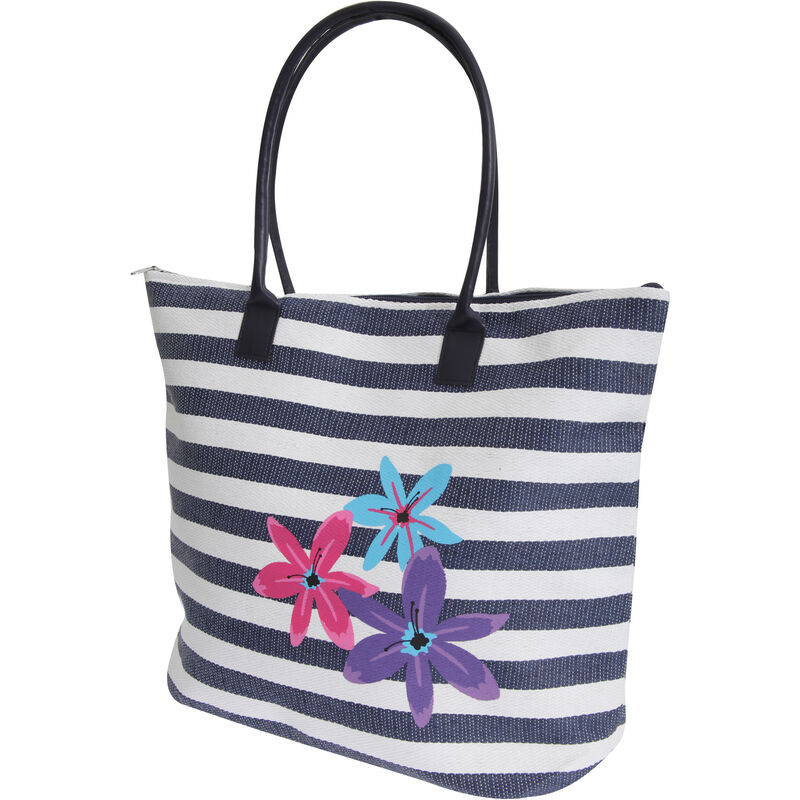 Image of Womens/Ladies Floral Stripe Patterned Straw Woven Summer Handbag (One Size) (White/Navy) - Floso
