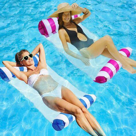 Flotteurs de piscine gonflables pour adultes Floaties Piscine Float Hamac 2Packs Flotteur de piscine gonflable avec pompe, comme hamac d'eau, chaises de piscine à la plage, flotteurs pour piscine