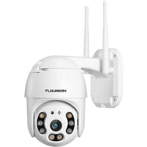FLOUREON 1080P HD Caméra IP sans fil Dual Light WiFi Smart Home Security Surveillance Camera Pan / Tilt Human Motion Access Indoor Outdoor EU