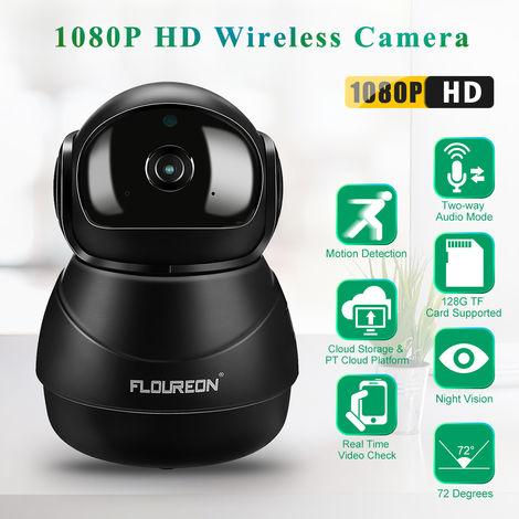 FLOUREON 1080P HD H.264 Wifi 2,0 mégapixels CCTV Caméra de sécurité IP sans fil Slot SD (UK plug)