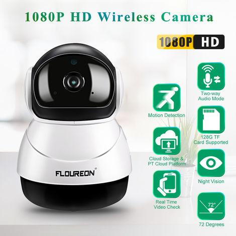 FLOUREON 1080P HD H.264 Wifi 2,0 mégapixels CCTV sans fil Caméra de sécurité IP Slot SD(UK PLUG)