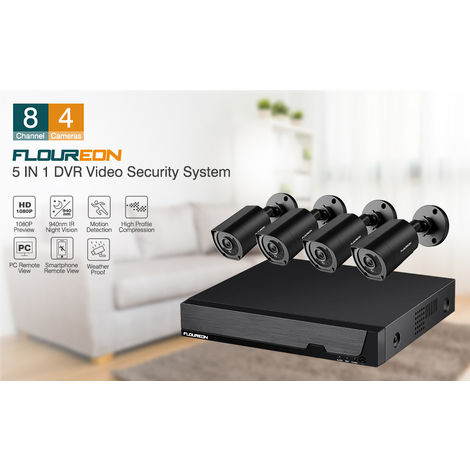 FLOUREON 8CH 1080P 5IN1 DVR Record 4x3000TVL Security Camera Outdoor CCTV System