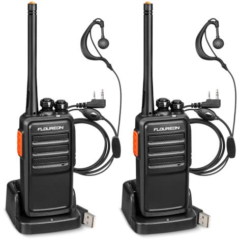Floureon A5 Talkie-walkie rechargeable 16 canaux PMR 446MHZ Émetteur-récepteur radio portatif bidirectionnel sans licence avec interphone portatif longue portée Balayage TOT avec chargeur USB Batterie Li-ion et écouteurs (Noir, 1 paire)