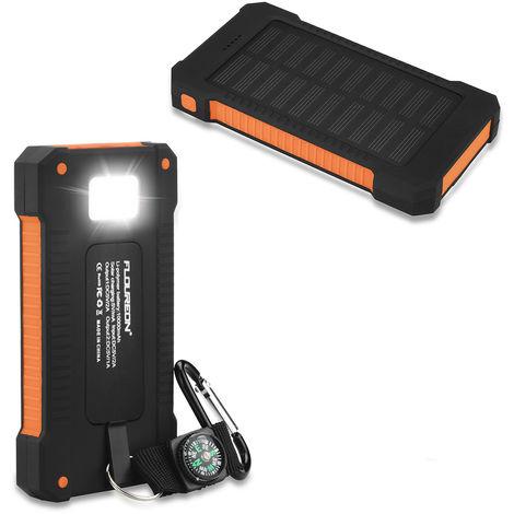 FLOUREON Batterie solaire externe d'urgence Batterie solaire d'urgence Chargeur solaire étanche 10000mAh avec 2 ports USB Compas et LED Torche pour Smartphones Samsung iPhone et Tablet - Orange