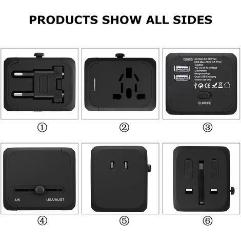 FLOUREON HHT148 Adaptateur secteur international avec chargeur double USB 2.4A