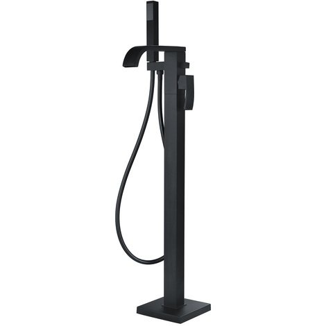 Flow Black Freestanding Bath Shower Mixer Tap