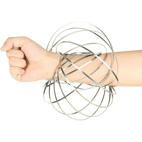 Flow Rings Kinetic Education Spring Toy Interactive 3D Sculpture Stainless Steel Magic Bracelet Ring Creative Stress Relieve Toy for Adults Children