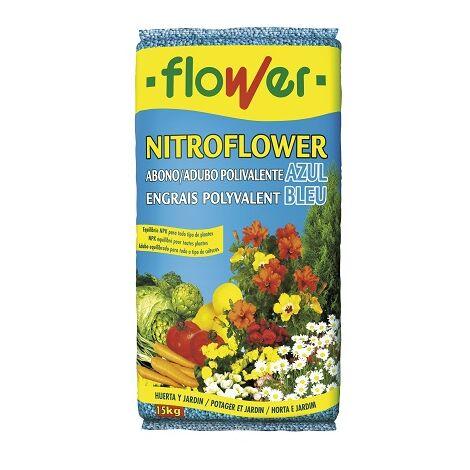 FLOWER Abono Granulado Polivalente Azul NITROFLOWER, Saco 15 kg