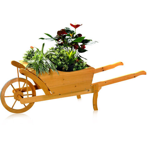flower cart planting wheelbarrow garden wood planting trough flower pot flower cart