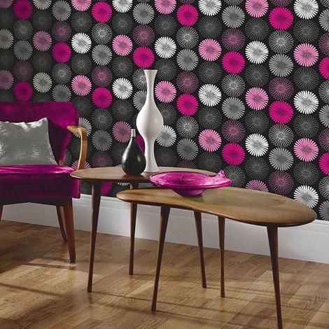 Flower Floral Daisy Wallpaper Black Pink Metallic Silver Heavyweight Arthouse