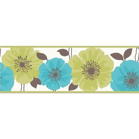 Flower Floral Wallpaper Border White Green Teal Luxury Modern Fine
