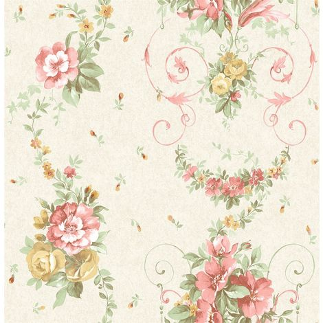 Flower Floral Wallpaper Rose Pink Yellow Green Cream Metallic Mica Shimmer